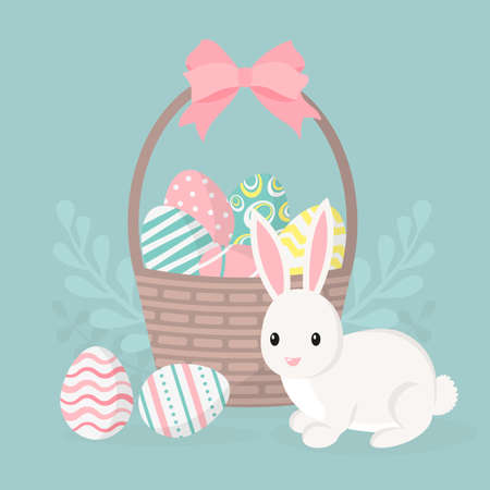 Happy easter greeting card, poster with cute bunny. Rabbit and basket with easter eggs. Vector illustration. Illustration