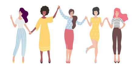 Diverse internationale Gruppe von stehenden Frauen oder Mädchen, die Händchen halten. Schwesternschaft, Freunde, Vereinigung von Feministinnen. Flache Vektorillustration.