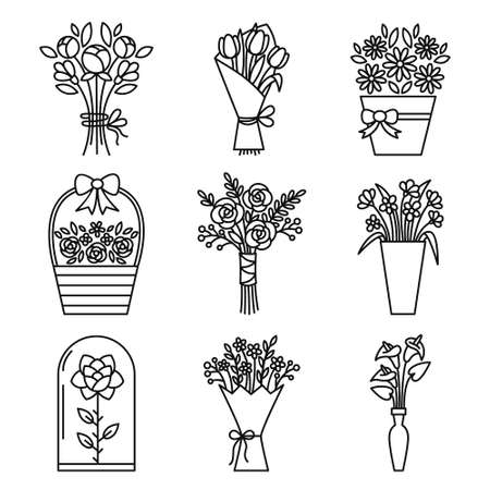 Set of flowers bouquet icons. Contains icons - chamomile, rose flower, calla, tulip, peony and others. Vector.  イラスト・ベクター素材