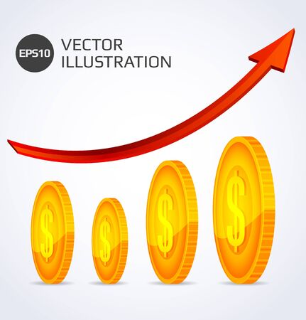 Finance Growth  Abstract illustration with gold coins Illustration