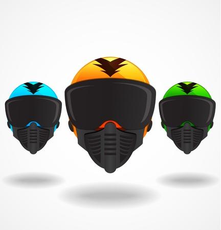 Three vector helmets Illustration