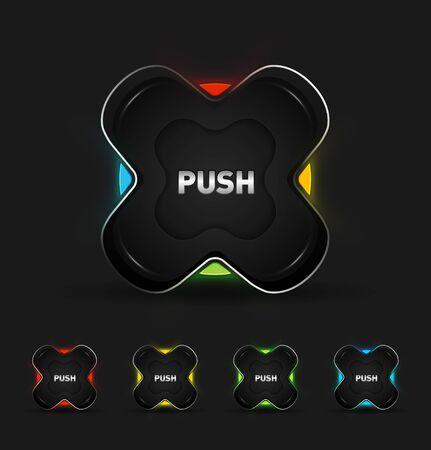 chrome button: Vector futuristic button