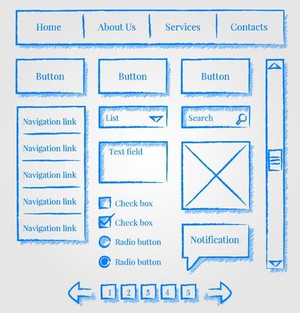 Website design sketch style kit