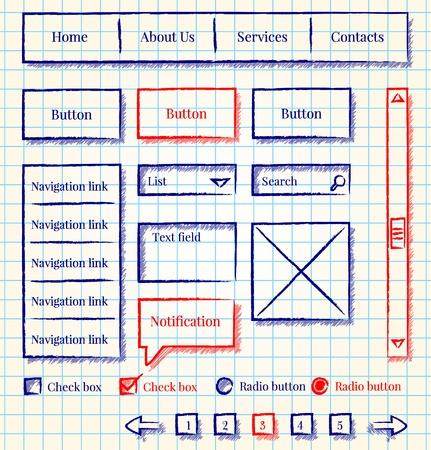 Sketch style website design kit Illustration