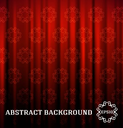 Red curtain with decor Illustration