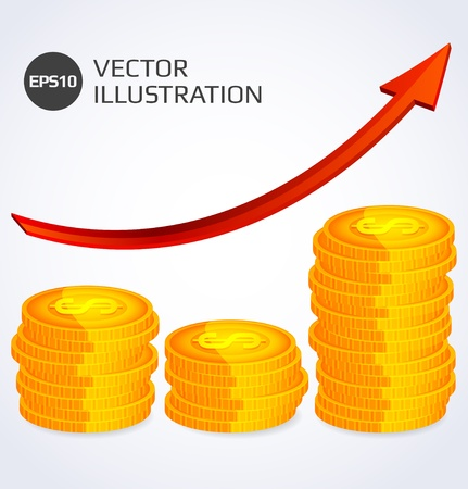 coins stack: Finance Growth  Abstract illustration with stack of gold coins