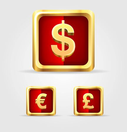 Currency gold icon set