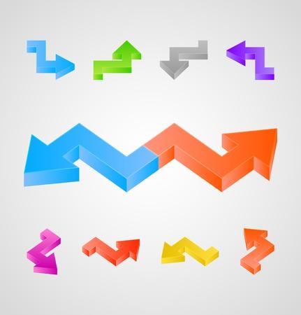 3d arrows vector set Illustration