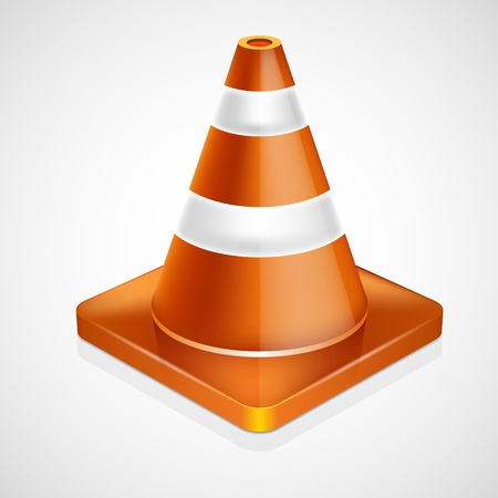 Orange highway traffic cone with white stripes