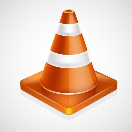 Orange highway traffic cone with white stripes