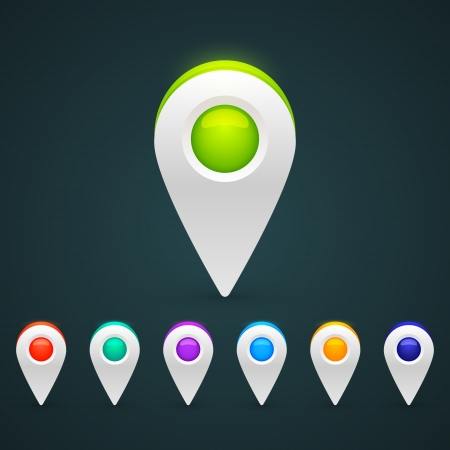 Vector color GPS pin icons for infographic Vector