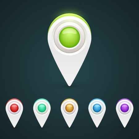 Vector color GPS pin icons for infographic
