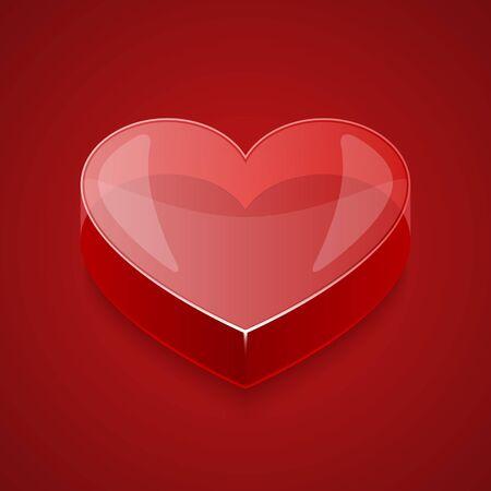 3d glass heart illustration Illustration