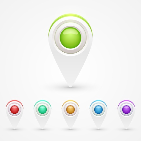 GPS Color Map Icons Stock Vector - 17499987