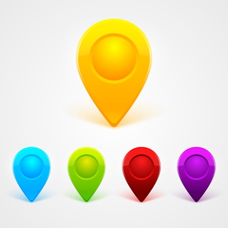 GPS Color Map Icons Vector