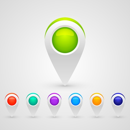 color GPS pin icons for infographic