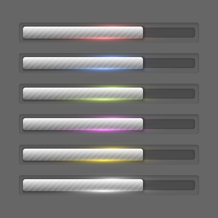 Collection of coloured shiny progress bars Illustration