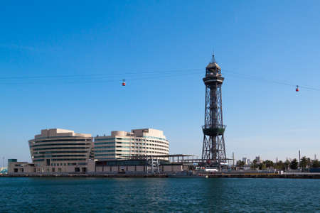 Cableway tower in old port in Barcelona