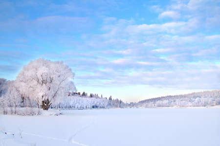 Beautiful winter landscape in Hameenlinna
