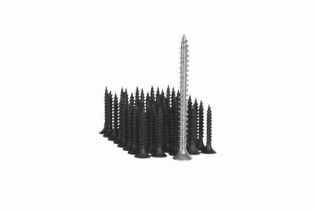 formation of screws isolated on white