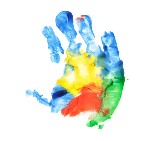 Handprint of of two and six months years old child isolated on white Standard-Bild