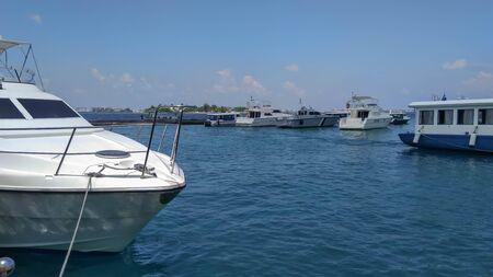 Luxury yachts in marina, Maldives Island.