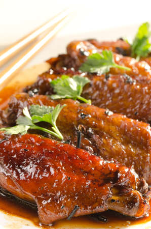 spicy chicken wings in asian sauce