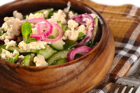 carne picada: la carne de pollo y ensalada de pepino