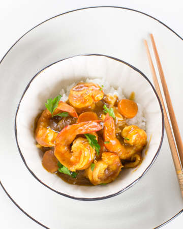 Japanese shrimp curry with rice in a bowl