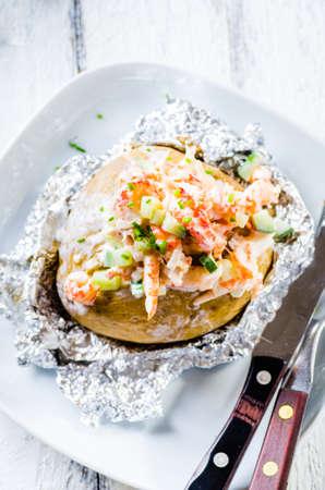 Swedish topped backed potato with shrimp
