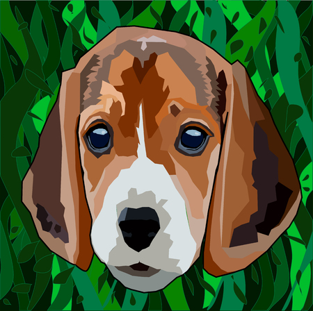 Spotted dog breed Beagle peeking out of the leaves and grass