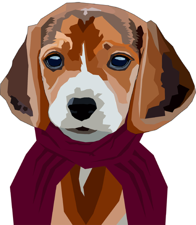kiddie: Lovely cartoon dog in red scarf