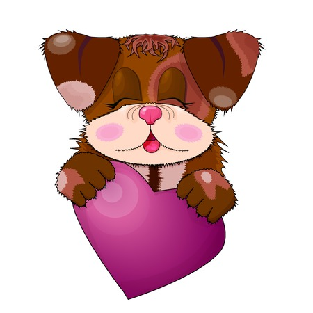 Lovely cartoon dog smiles and holds in paws pink heart. Perfect for cards and greetings.