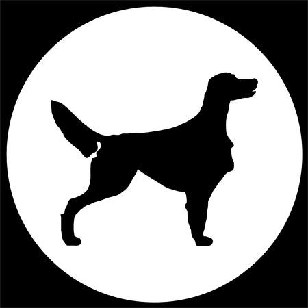 hondenras ierse zetter op zwart en wit vierkant en rond. alle objecten zijn geïsoleerd en je kunt ze verplaatsen. Hondenras vector zwart silhouet. Hondenras zwarte pictogrammen geïsoleerd op een witte achtergrond. Hondenras zwarte vector pictogram illustratie. Hondenras zwart Si Vector Illustratie