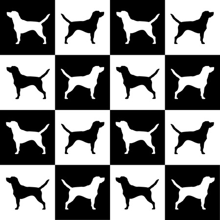 dog breed beagle on black and white squares and cells . it seems like chess board. all objects are isolated and you can move they. Dog breed vector black silhouette. Dog breed black icons isolated on white background. Dog breed black vector icon illustrat Çizim