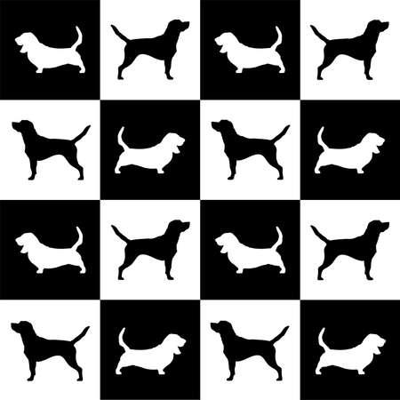 dog breed basset hound and beagle on black and white squares and cells . it seems like chess board. all objects are isolated and you can move they. Dog breed vector black silhouette. Dog breed black icons isolated on white background. Dog breed black vector icon illustration. Dog breed black silhouette isolated vector. Dog breed flat silhouette.