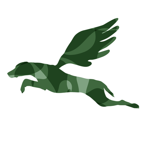 Colored outline of a flying dog isolated