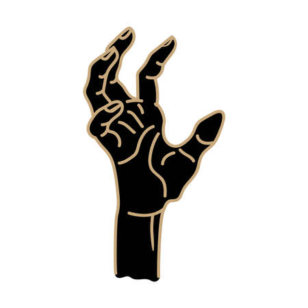 A black hand on a white background with beige contour lines is isolated on a white background. Иллюстрация