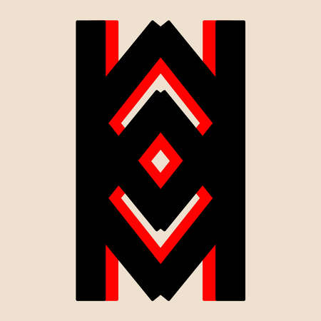 National ancient magic red and black symbol. Ornament