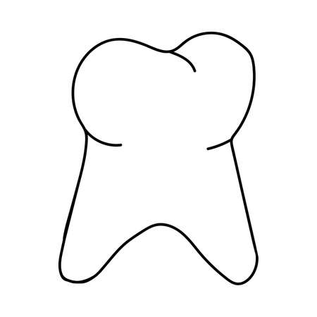 The tooth is a linear doodle isolated on a white background.