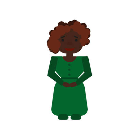 A dark-skinned woman with curly hair in a green dress with a belt smiles