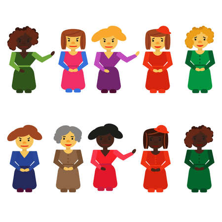 A set of women of different skin colors in colored dresses with hairstyles and different emotions in the style of flat. Vettoriali