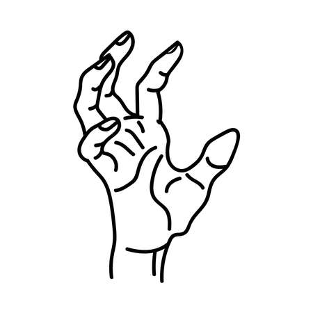 A broun hand on a white background with beige contour lines is isolated on a white background.