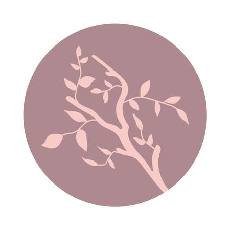 Isolated soft pink branch with leaves in a lilac circle on white background stylized
