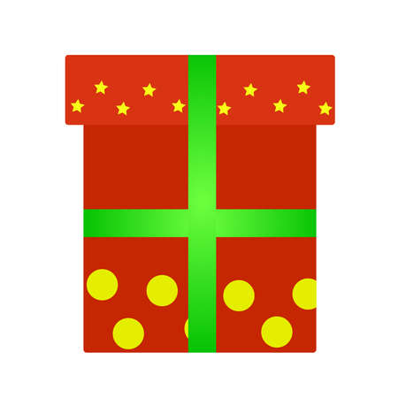 The red gift box with yellow balloons, stars and green ribbon is isolated against a background.