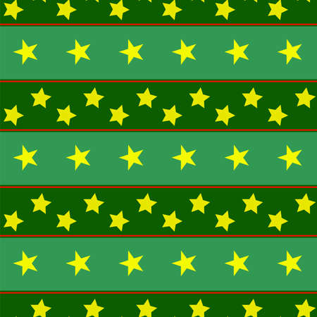 Green geometric pattern with red ribbons, yellow stars arranged in a row. Bright colored pattern
