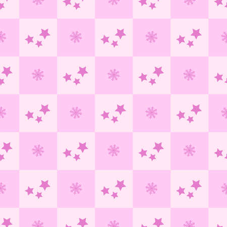 New Years winter geometric pattern with squares, stars and snowflakes in pink and lilac shades