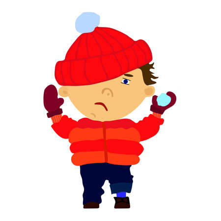 Funny sad boy throwing a snowball.