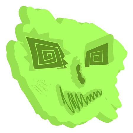Surreal face abstract design portrait in green Векторная Иллюстрация