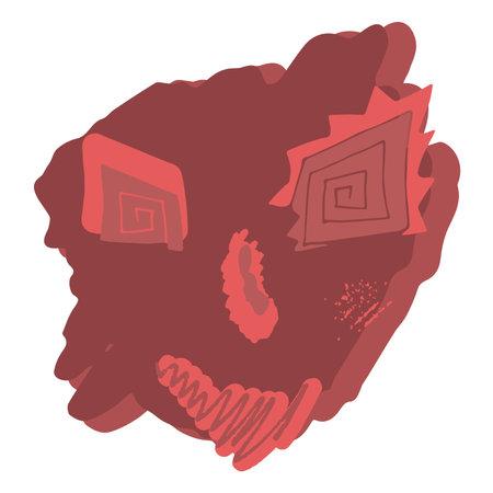 Surreal face abstract design portrait in red color Векторная Иллюстрация